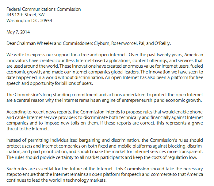 Letter to the FCC on behalf of web and tech companies for a free and open Internet.