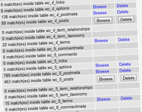 WordPress database MySQL query search results