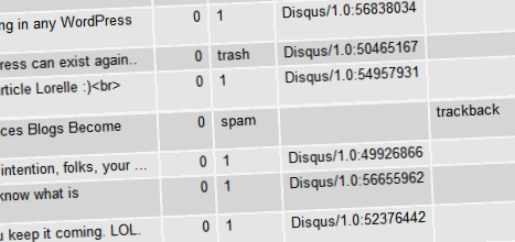 Inside the WordPress MySQL database to remove comment spam and trash