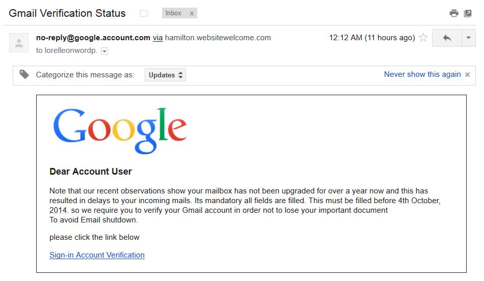 Google Gmail phishing scam email.