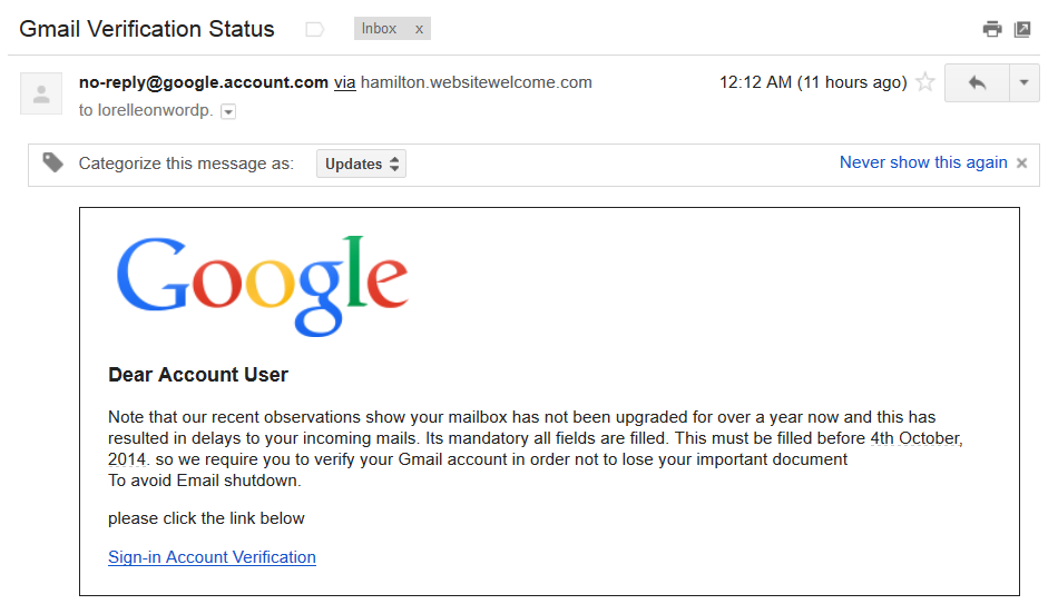 Google Gmail phishing scam email.