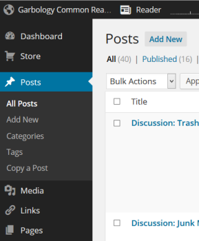 Corner of the WordPress Administration Screen for posts.