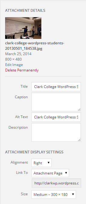 WordPress Attachment Display Settings for an image and media file.
