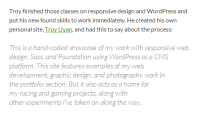 Example of a blockquote and text in a WordPress Theme.