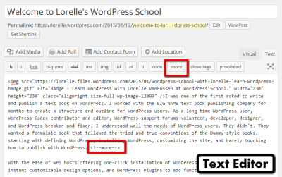 Screenshot of the More Excerpt in the WordPress Text Editor - WordPress School.