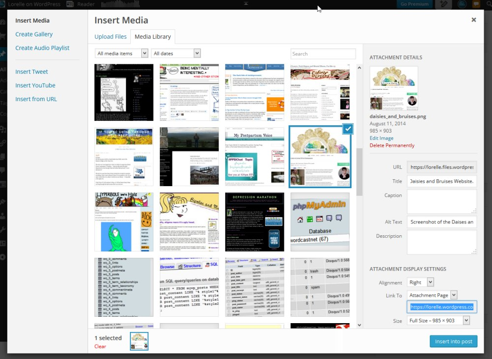 Screenshot of the WordPress Media Uploader and Manager from a post or Page view - WordPress School.