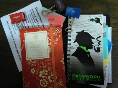 Examples of books and notebooks used for saving passwords.