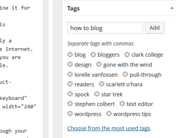 Screenshot of the WordPress Post screen Tag section - WordPress School.
