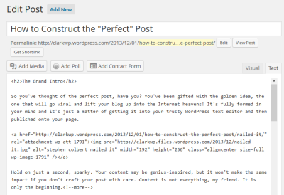 Example of the WordPress Classic Text Editor with post content.