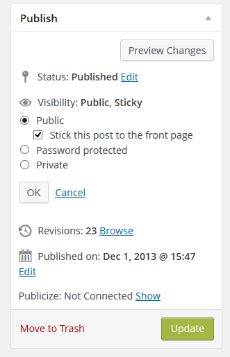 Screenshot of WordPress Publish Options for sticky post, published status, etc. - WordPress School.