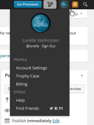 Admin Screen Admin Bar Gravatar image menu for accounts - Lorelle WordPress School.