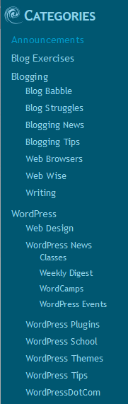 Example of a category list in WordPress featuring hierarchical list.
