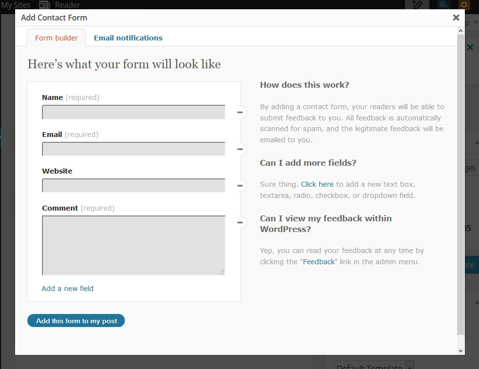 Contact Form Screenshot - WordPress Jetpack Plugin and WordPresscom - Lorelle WordPress School.