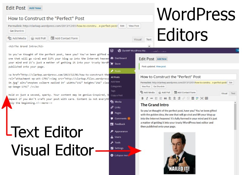 Editors WordPress Content - Screenshots of the Text and Visual Editors.