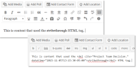Example of the Visual and Text Editors in WordPress managing the strikethrough HTML tag.