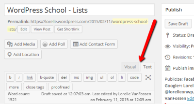 Screenshot of the WordPress Editors - Text and Visual - Lorelle's WordPress School.