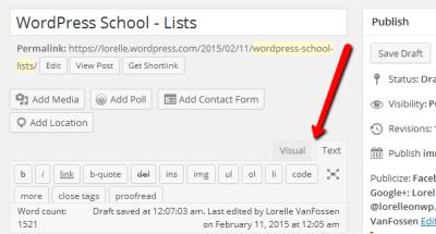 Screenshot of the WordPress Editors - Text and Visual - Lorelle's WordPress School.