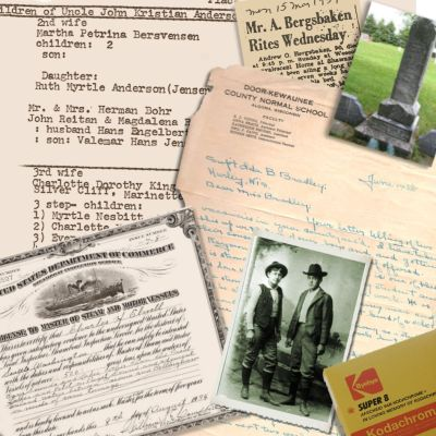 Family History documents, photographs, film, and records for inclusion in a family history site.
