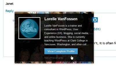 Gravatar Hovercard featuring Lorelle VanFossen -  WordPress School.
