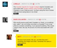 Example of Gravatars in WordPressComments.