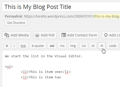Screenshot of Lists - Close the HTML list item - Lorelle WordPress School.