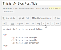 Screenshot of Lists - Complete the HTML list - Lorelle WordPress School