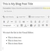 Lists – Finish the list in the Visual Editor – Lorelle WordPressSchool