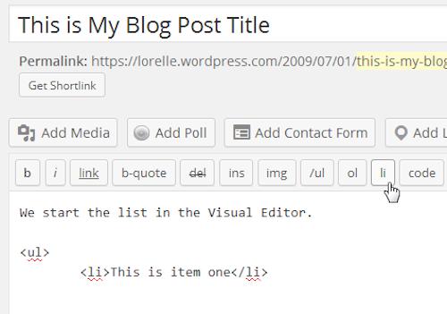 Screenshot of Lists - Start the next HTML list item - Lorelle WordPress School.