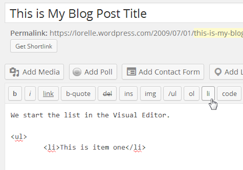 Screenshot of Lists - Start the next HTML list item - Lorelle WordPress School.
