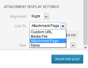 Screenshot of the WordPress Media Attachment Display Settings - Lorelle's WordPress School.