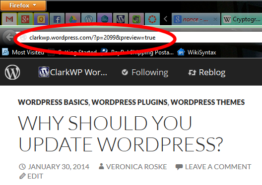 The Post Preview link on the web browser address bar for WordPress.