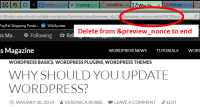 Published post link in the address bar for a WordPress nonce.