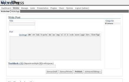 WordPress interface version 1.5.