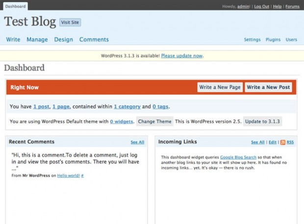 WordPress Interface version 2.5-dashboard.