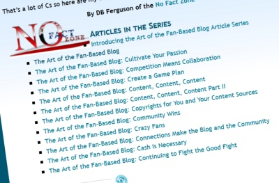 Article Series - Intrasite links in table of contents  - DB Ferguson article series on fan-based blogging screen capture of links.