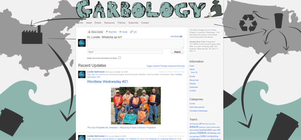 Background Image - Clark College Common Read Garbology Project Student Design