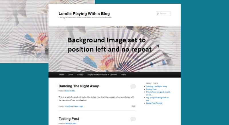Background Image - Left and No Repeat - Lorelle WordPress School