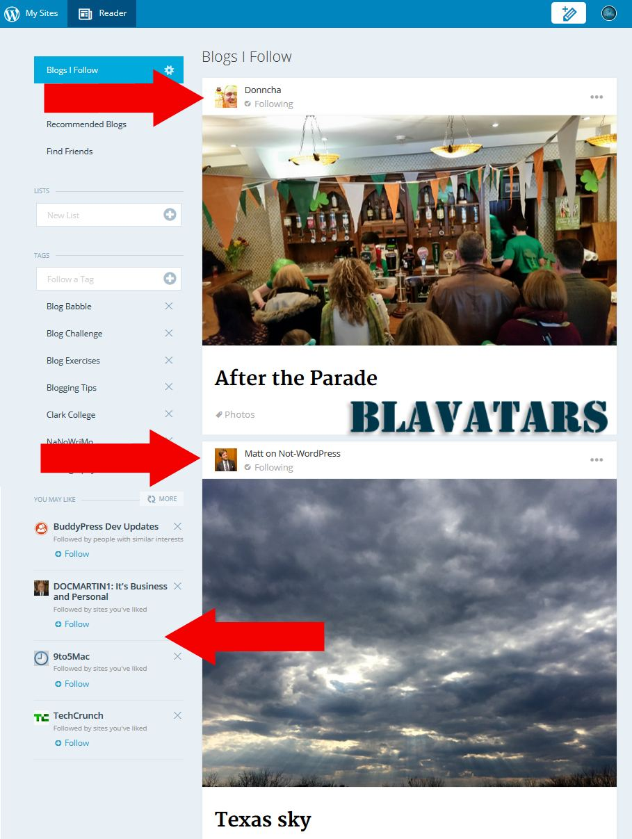 Blavatar Examples in WordPress com Reader - Lorelle WordPress School.