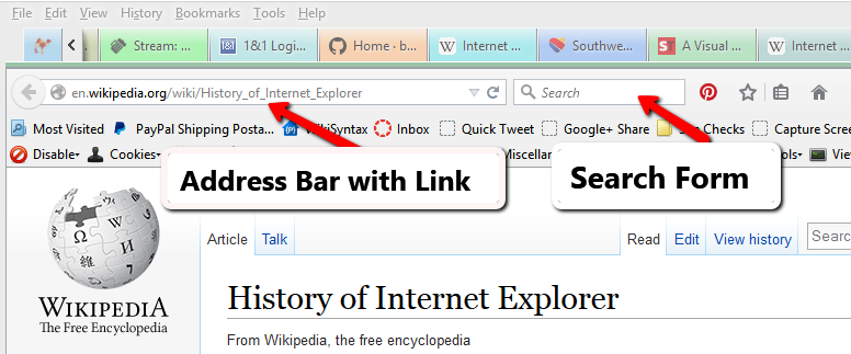 Screenshot of Browsers - Address bar in a web browser - Lorelle WordPress School.