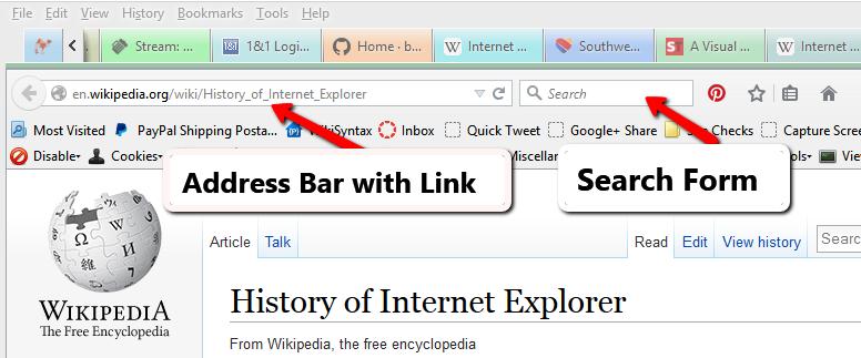 Screenshot of Browsers - Address bar in a web browser - Lorelle WordPress School.