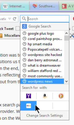 Screenshot of Browsers - Drop Down Search Engine List in Firefox - Lorelle WordPress School.
