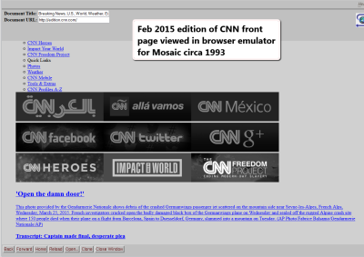 Screenshot of Browsers - Web Browser Emulator of CNN front page in 2015 viewed with Mosaic browser circa 1993.