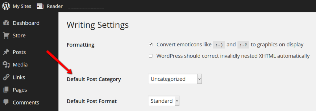 WordPress Settings - Writing - Categories and changing the default category screenshot.