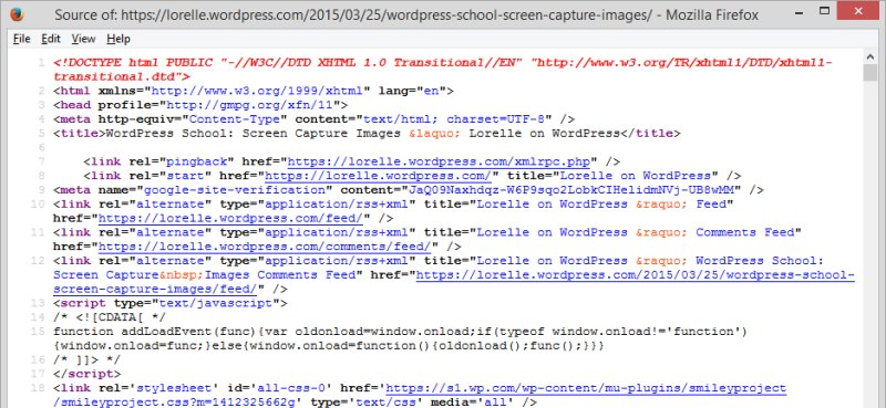 Code - Page Source Code - Lorelle WordPress School.