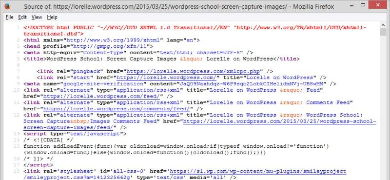 Code - Page Source Code - Lorelle WordPress School.