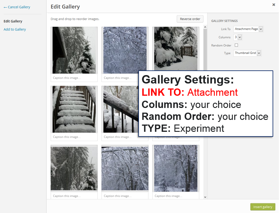 Galleries - Edit Gallery Screen - Lorelle WordPress School.