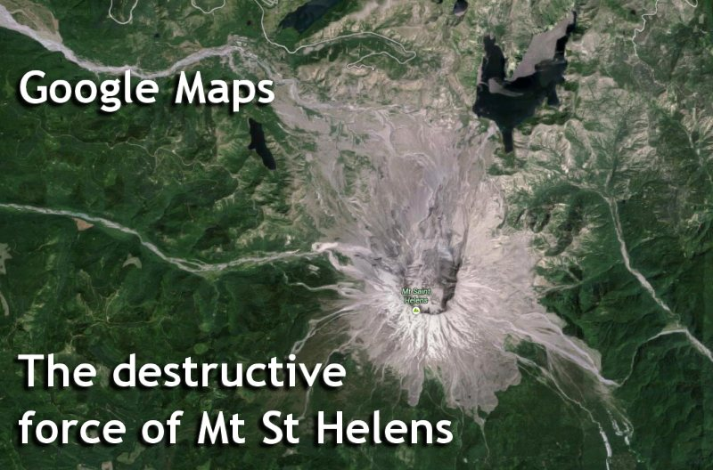 Google Maps - Mt St Helens Satellite view.