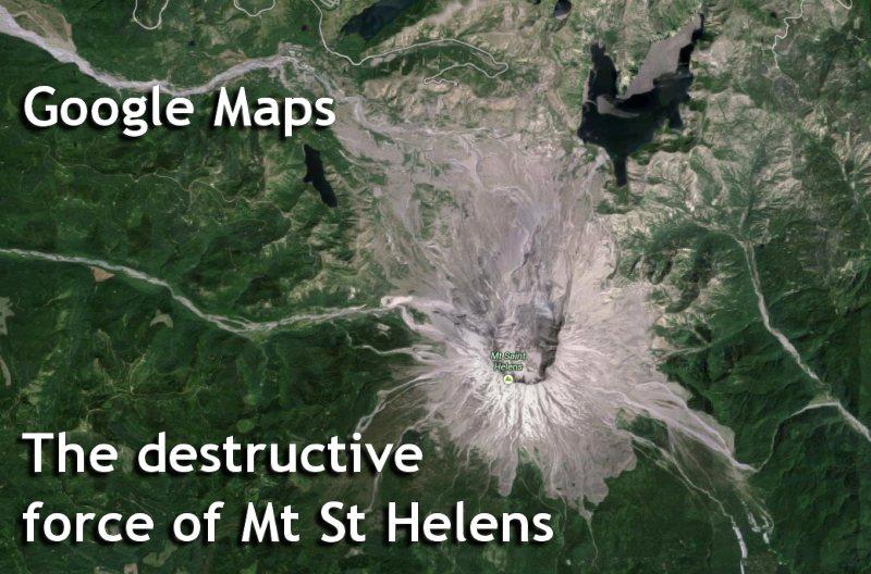 Google Maps - Mt St Helens Satellite view.