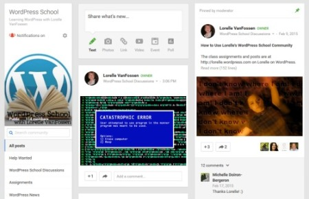 Google Plus WordPress School Community - screencap.