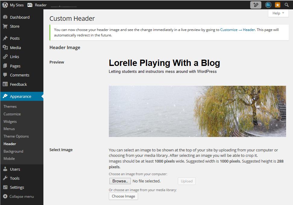Header Art - WordPress Admin - Appearance - Header Upload and Settings screen shot.